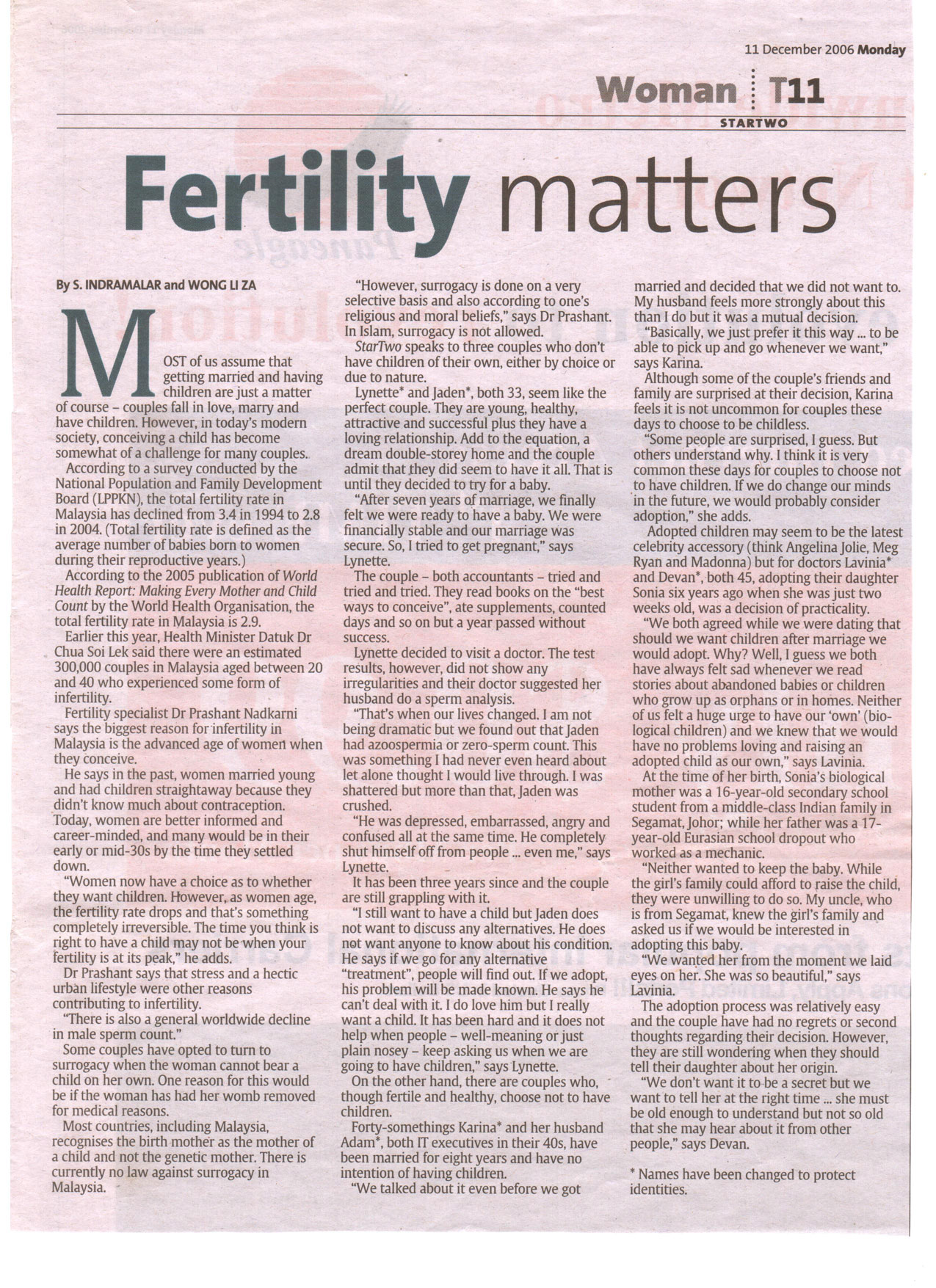 Fertility Matters - The Star Dec 2006