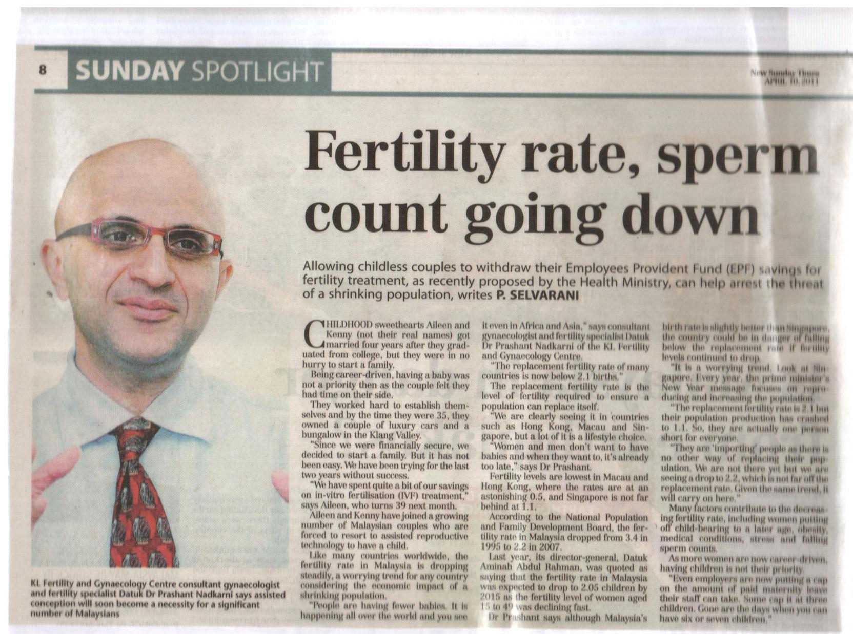 Fertility Rates & Sperm Count Down Pt1 - NST Apr 2011