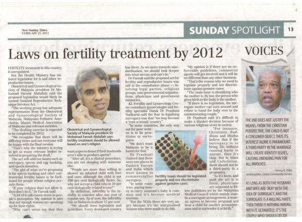 Laws on Fertility Treatment - NST Feb 2011