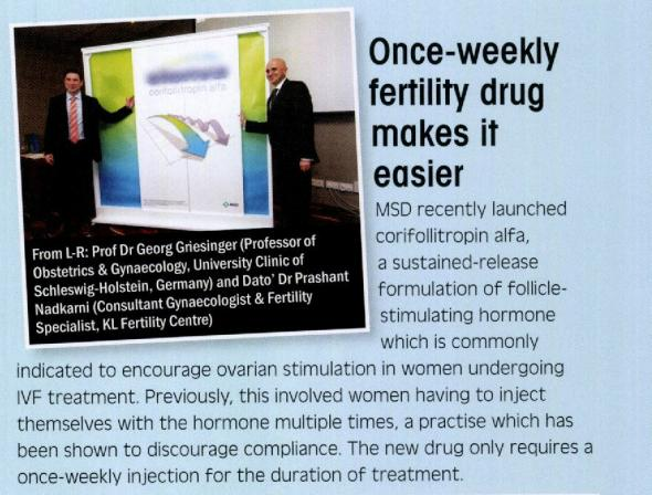 Once Weekly Fertility Drug Makes It Easier - Article in Health Today