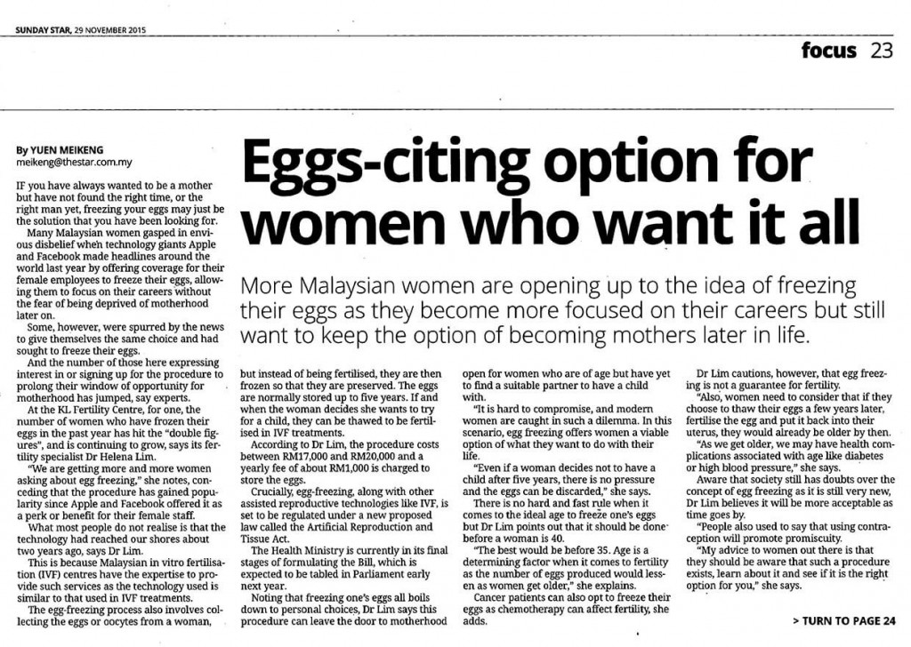 Eggs-citing option for women who want it all