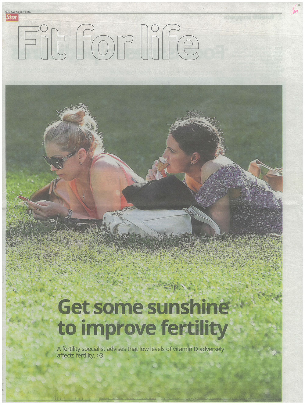 Get Some Sunshine to Improve Fertility - The Star, Fit for Life (10 July 2016) page 1